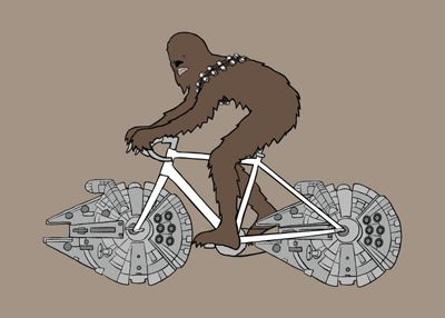 Amazing bike illustrations by Mike Joos. #starwars #chewbacca #bike  #bike #bicycle #bicicleta #illustration #ilustracao #poster