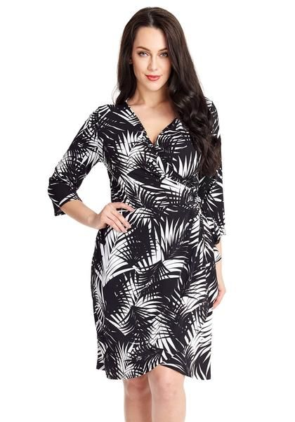 Front view of pretty model wearing black and white palm leaf-print wrap dress | SHOP $31.00 | ♦F&I♦
