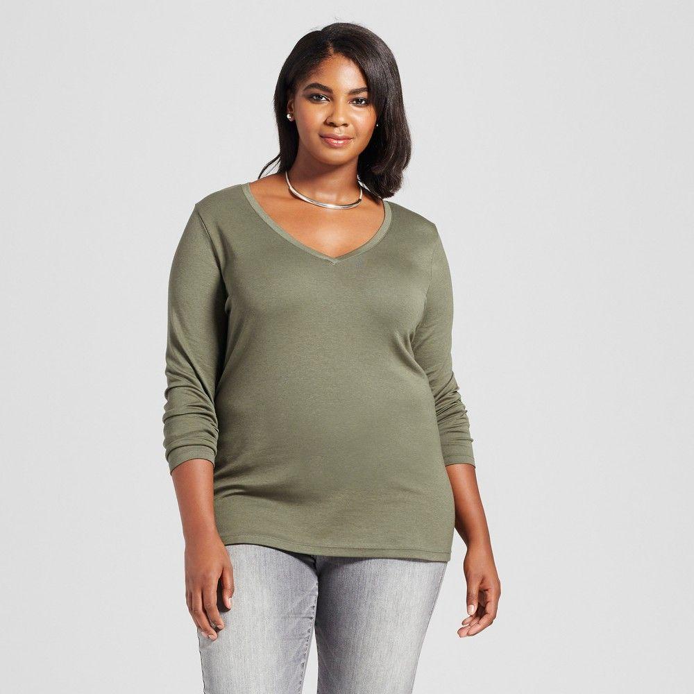 Womenus plus size long sleeve vneck tshirt ava u viv olive