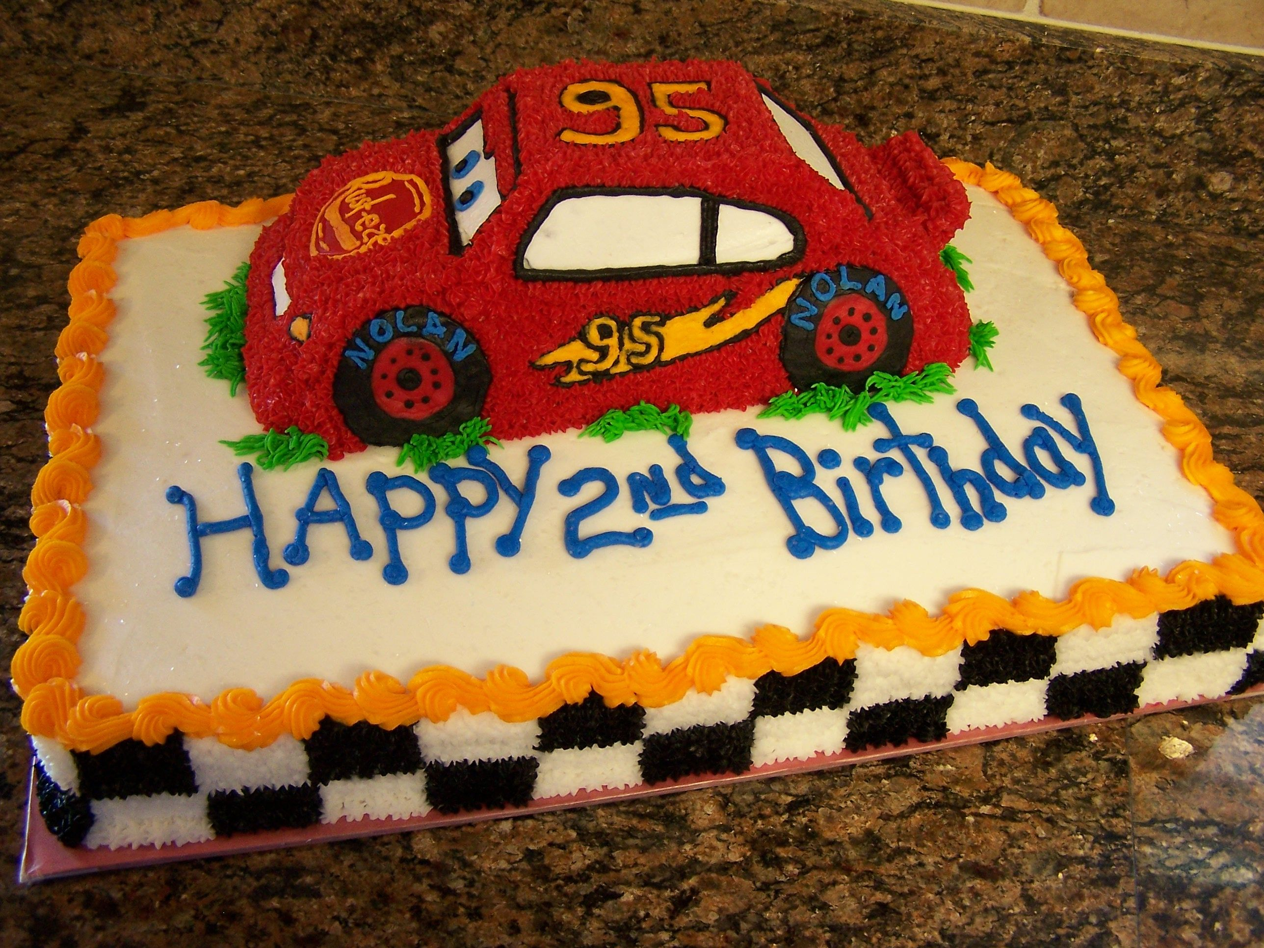 - Almond flavored Cars cake. All buttercream.
