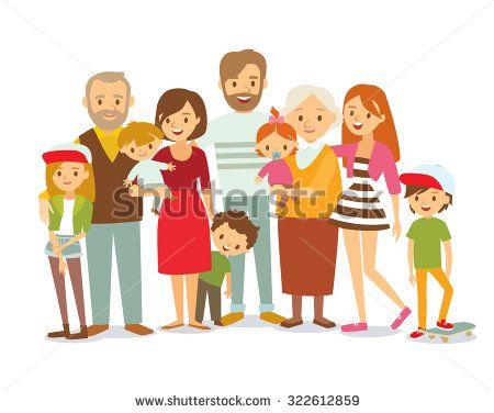 Big Family Portrait Stock Vector Com Imagens Ilustracao De