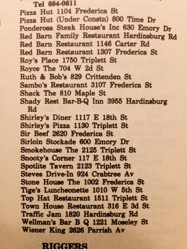 Owensboro Restaurants From 1977 City Directory Owensboro Kentucky