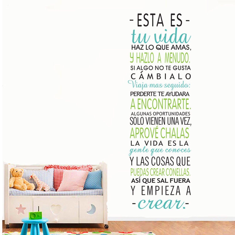 vinilo adhesivo de pared frase con distintos colores y room
