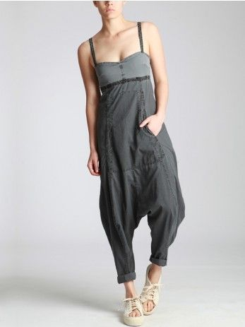 DROP CROTCH JUMPSUIT WHIT AGED COTTON AND LYCRA ON TOP - JACKETS, JUMPSUITS, DRESSES, TROUSERS, SKIRTS, JERSEY, KNITWEAR, ACCESORIES - Woman -