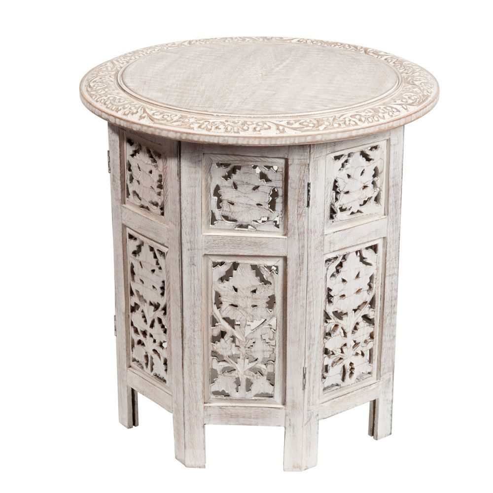 Carved Mango Wood Sidetable In Whitewash Finish Maisons Du Monde