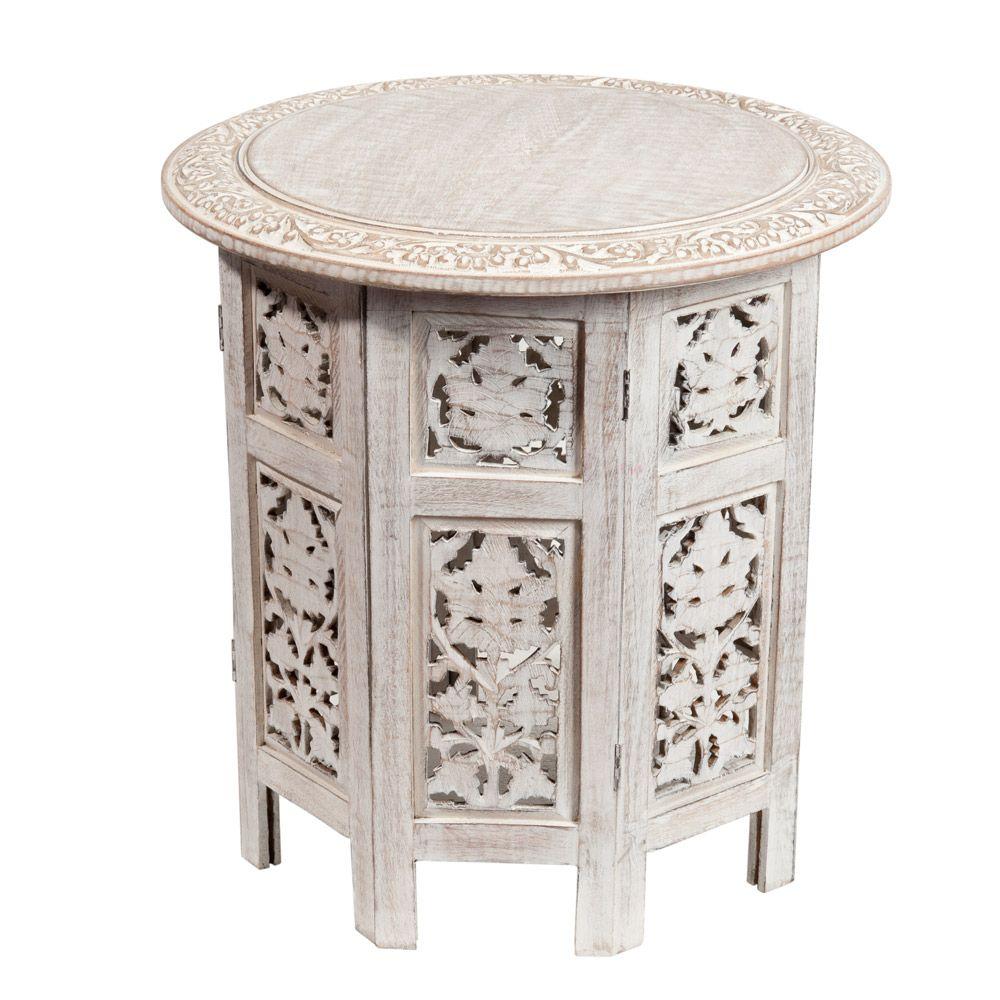 Latest bout de canap sculpt en bois blanchi l cm saranya for Maison du monde gironde