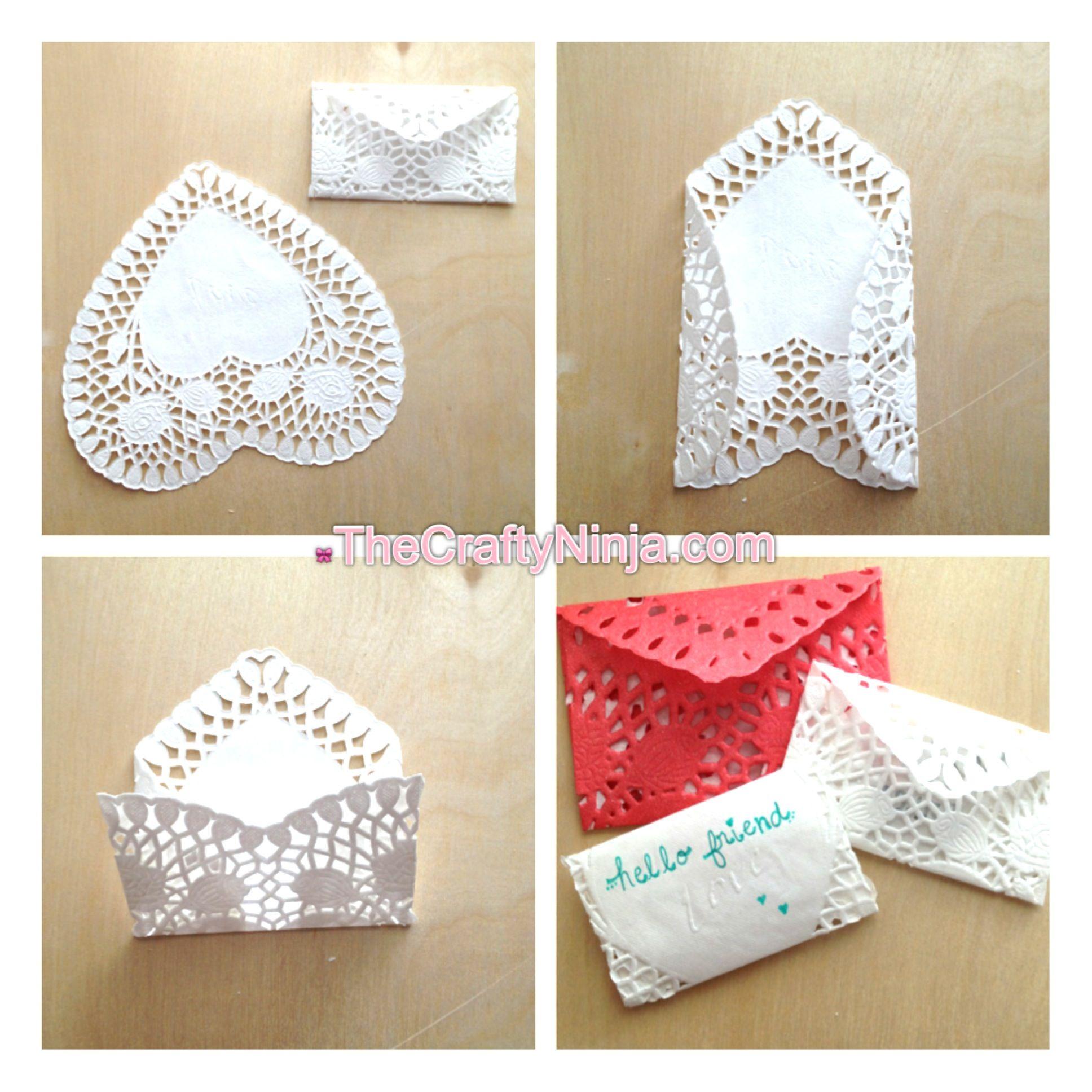 Heart Doily Envelopes :)
