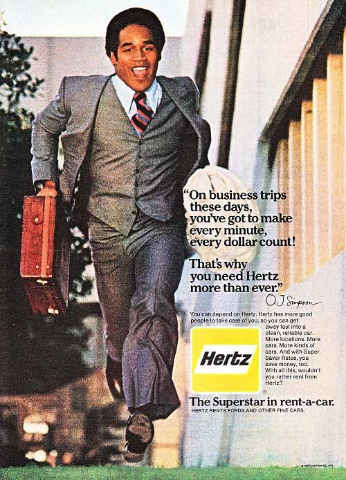 Image result for image of OJ simpson from Hertz ad