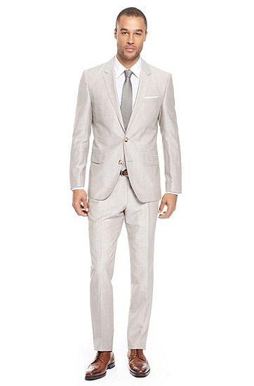 The groom/groomsmen: Hugo Boss 'Hedge/Gense' | Slim Fit, Wool-Blend Suit, Medium Beige