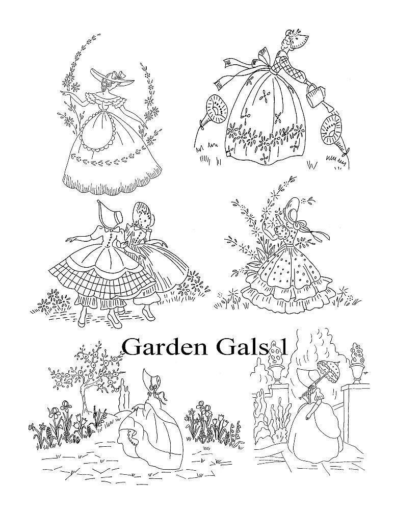 Garden gals1 | embroidery pattern | Pinterest | Dibujos bordados ...