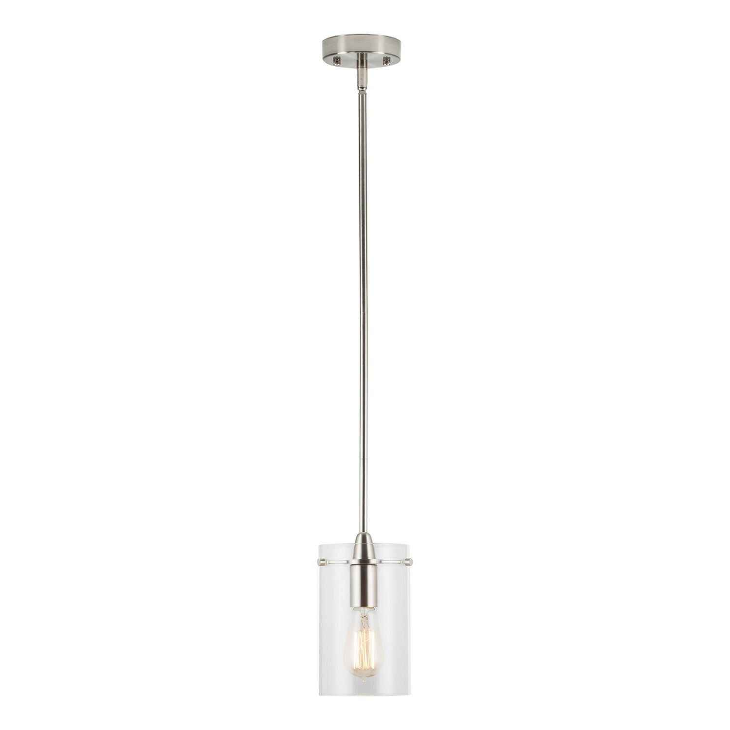 Effimero Medium Stem Hung Clear Glass Contemporary Pendant Light Brushed