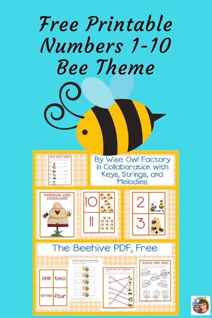 Printable Numbers 1-10 Bee Preschool Theme Free PDF | free lessons ...