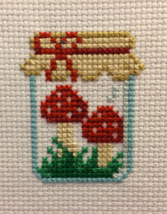 Mushroom Jar Cross Stitch Pattern #prettypatterns