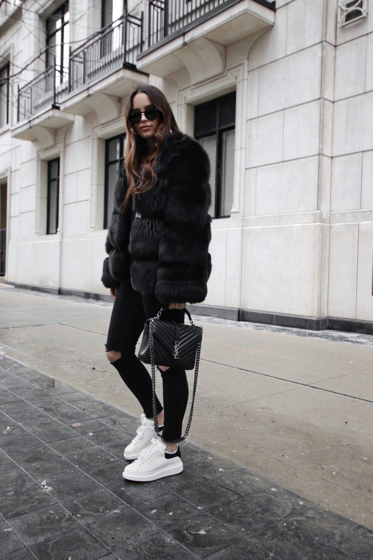 black fur outfit and alexander mcqueen sneakers shoes