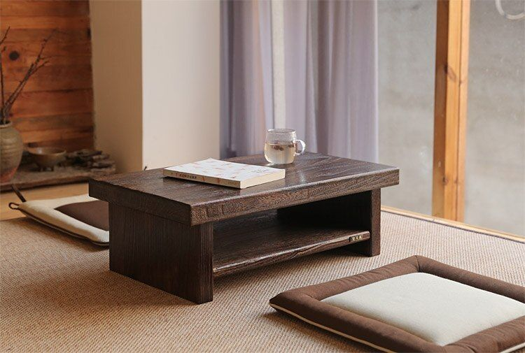 Antique Chai Coffee Table Reclaimed Brass Stars Solid Wood Living