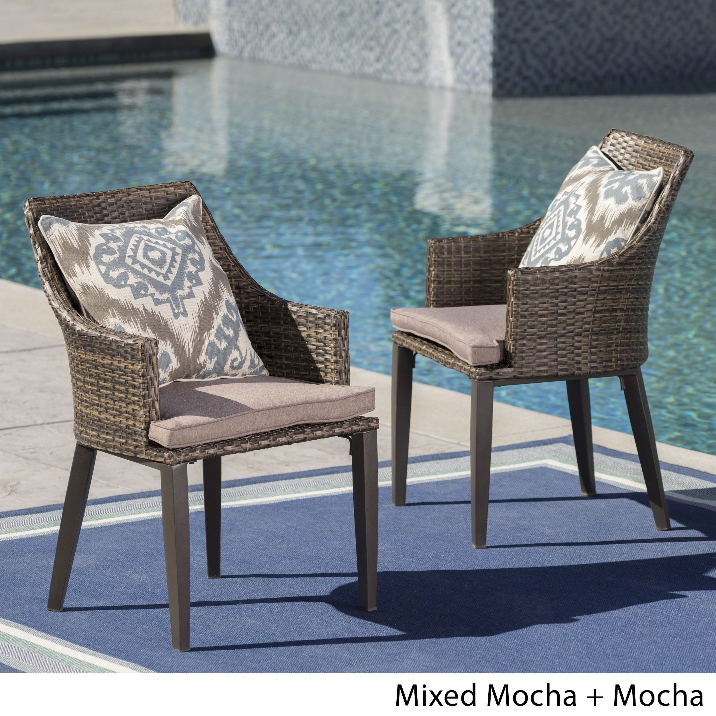 Hillhurst Outdoor Wicker Dining Chairs with Cushions (Set of 2) by ...