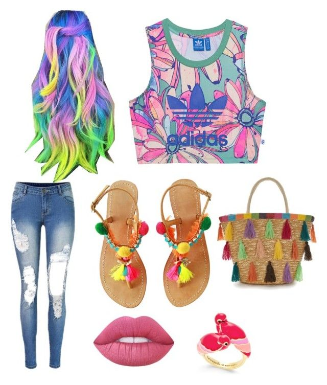"""""""Lets pull the rainbows up girls."""" by kittykitty-lizy on Polyvore featuring adidas Originals, Lime Crime and Kate Spade"""