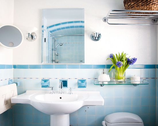 Vintage Tile Patterns For Bathroom And Kitchen Design : Stunning Blue  Eclectic Bathroom White Washstand And Part 56
