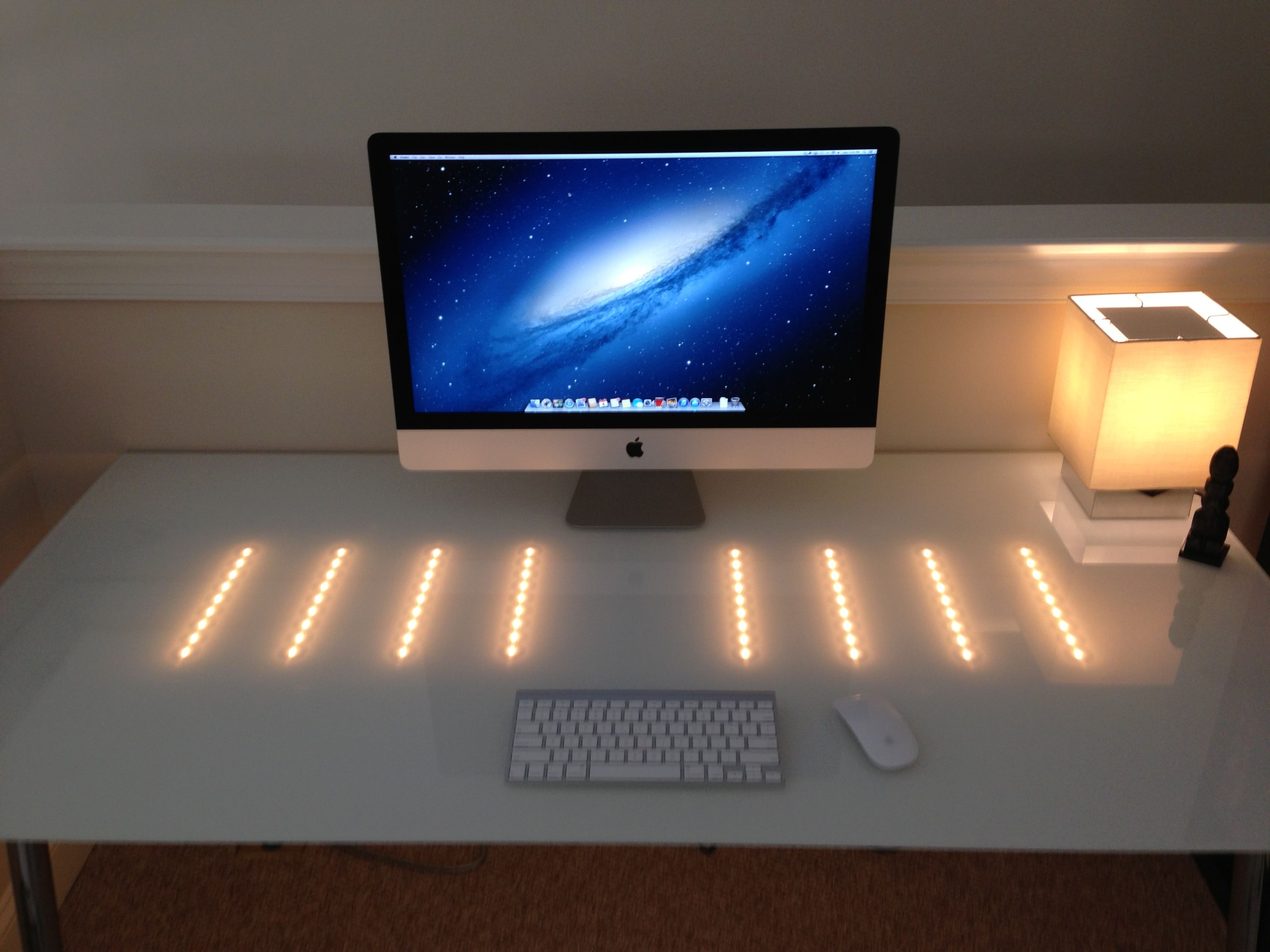 27 imac ikea galant white glass desk led track lighting office 27 imac ikea galant white glass desk led track lighting aloadofball Images