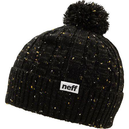 f55cb26e8 Neff Jonah Black Pom Cuff Beanie   shit i wanna wear   Beanie, Knit ...