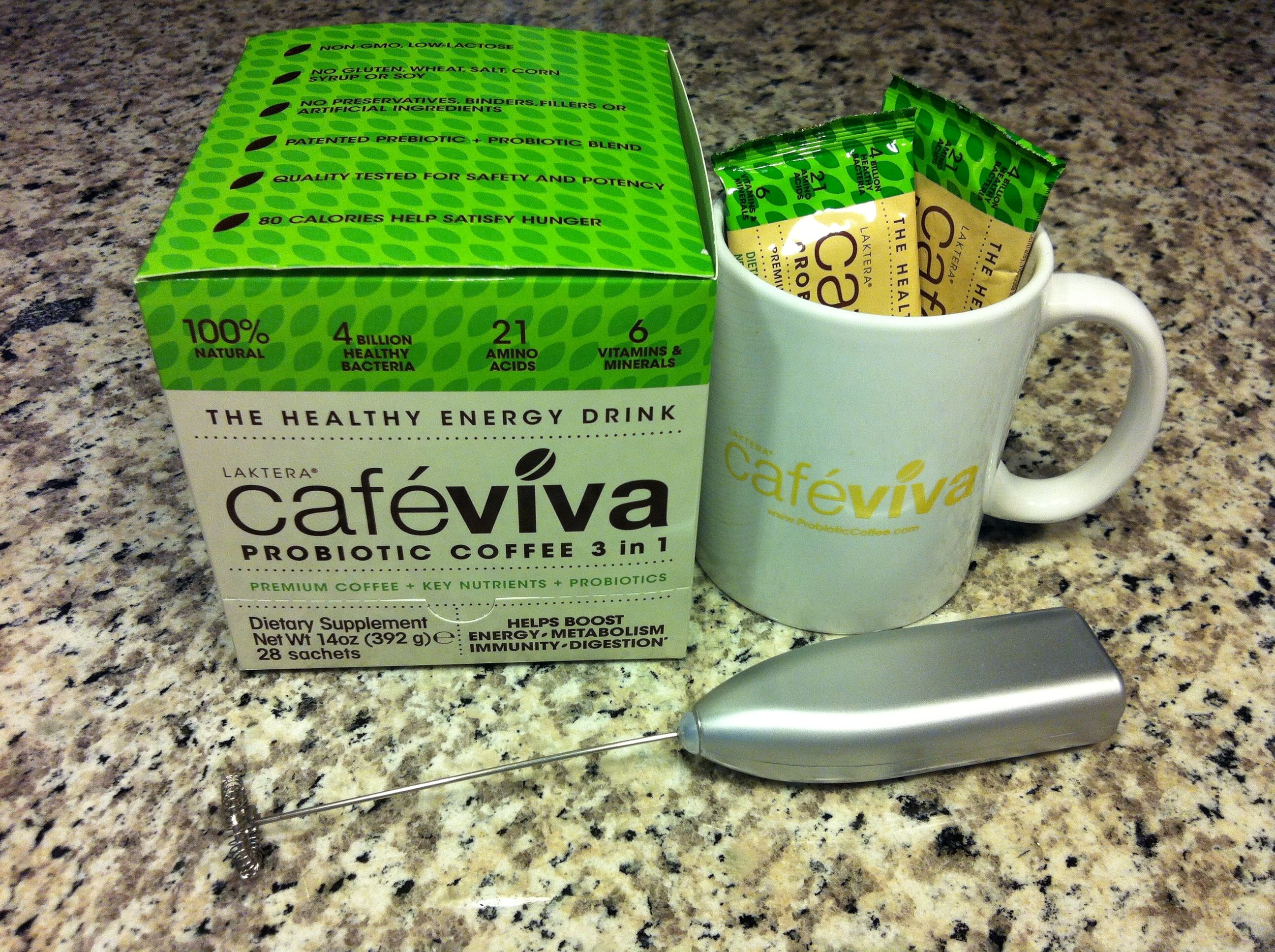 Cafe Viva Mug & Frother available at www.probioticcoffee.com