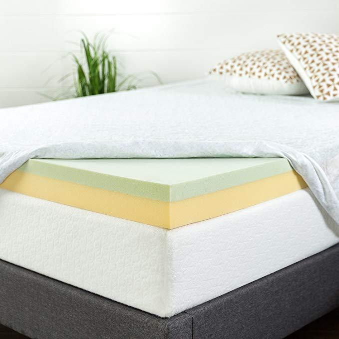 Amazon Com Zinus 4 Inch Green Tea Memory Foam Mattress Topper Full Home Kitchen Foam Mattress Topper Memory Foam Mattress Topper Mattress Topper