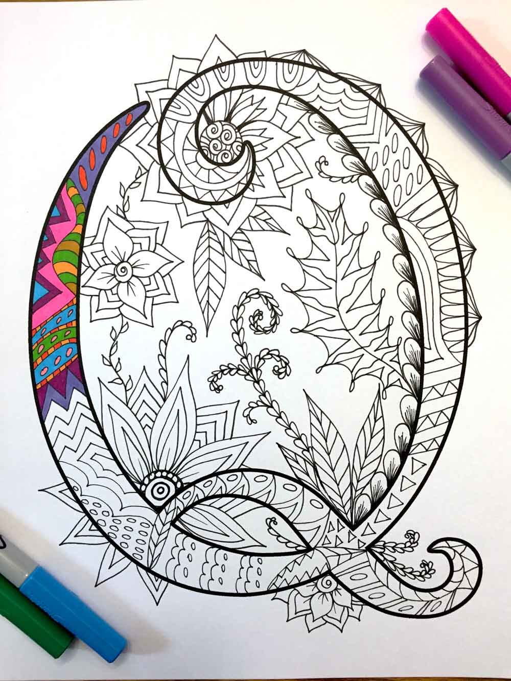 "Letter Q Zentangle Inspired by the font ""Harrington"