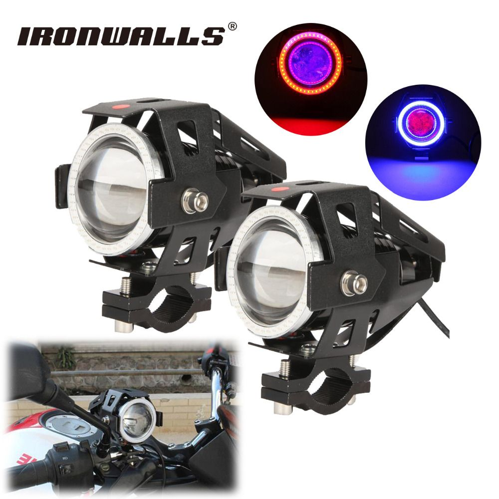 Ironwalls cree chips led u7 motorcycle headlight spotlights lamp 125w xenon driving spot light for honda
