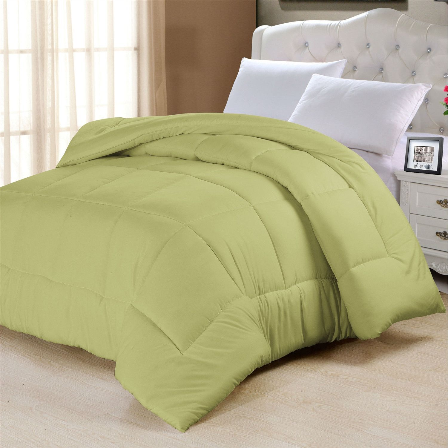 Full Size forter in Solid Sage Green Yellow Microfiber