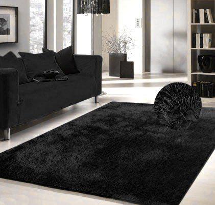 Luxury Viscose Shag Collection Black Shag Area Rug 5x7 Hand Tufted