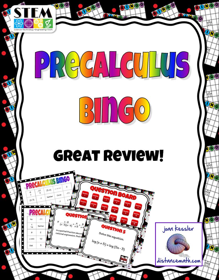PreCalculus BINGO Interactive Review | - Secondary and College Math