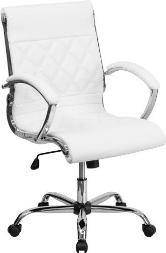 Flash Furniture Mid Back Designer White Leather Executive Office