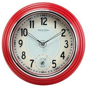 $25. retro kitchen wall clock, red - traditional - clocks - target