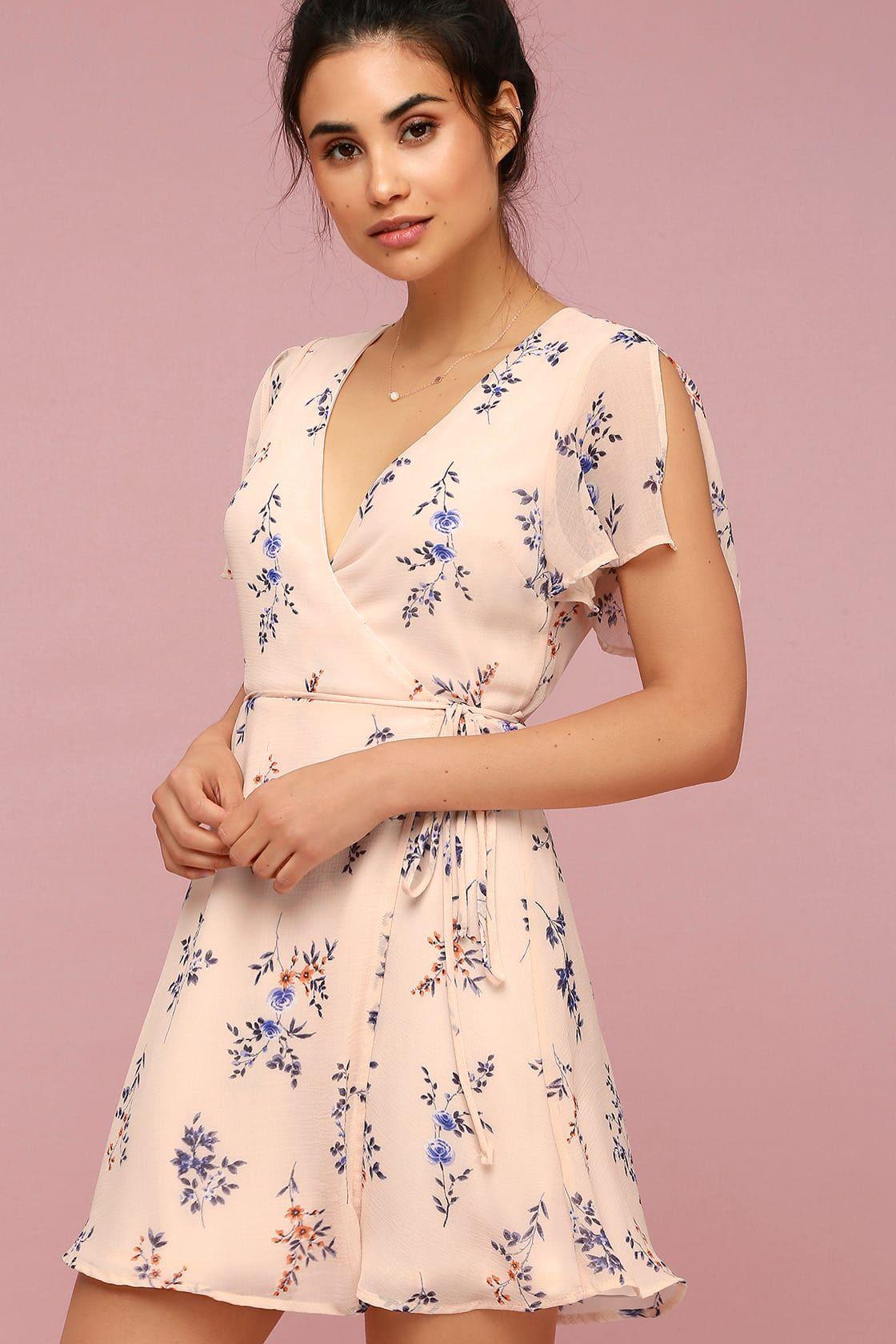 Fowler Blush Pink Floral Print Wrap Dress In 2020 Printed Wrap Dresses Short Dresses Casual Dresses
