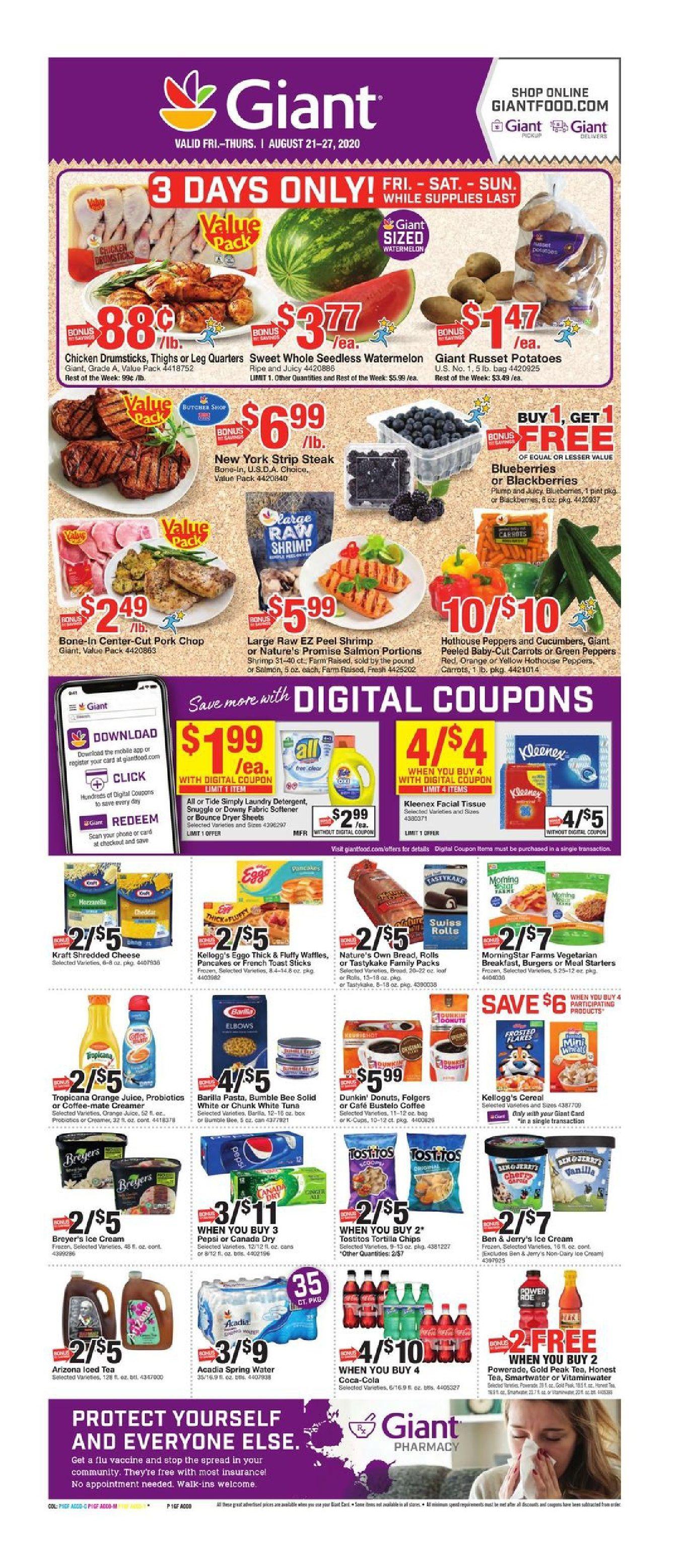 Giant food weekly ad valid aug 21 aug 27 2020 sneak