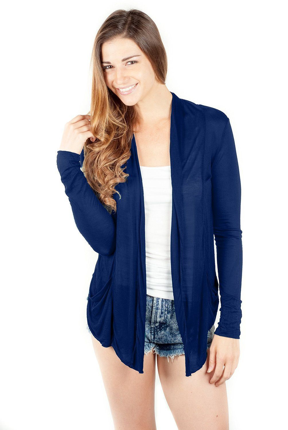 Long Sleeve Draped Open Front Light Sheer Shawl Cardigan | Shawl ...