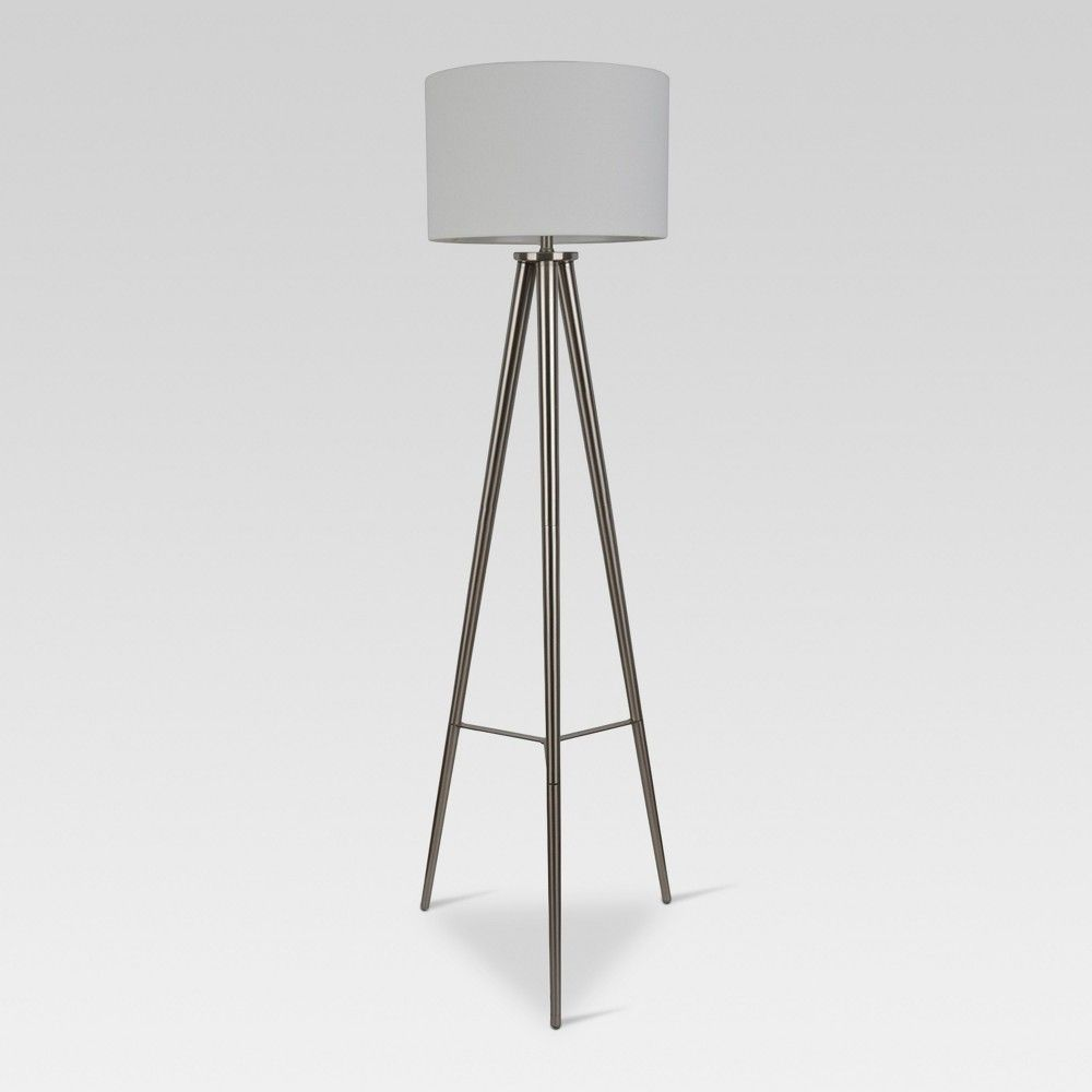 Delavan Metal Tripod Floor Lamp Nickel Lamp Only Project 62 Floor Lamp Floor Lamp With Shelves Black Floor Lamp