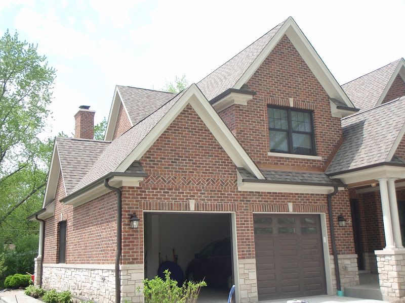 Our Brick With Weathered Wood Roof Bronze Gutters Cream Trim