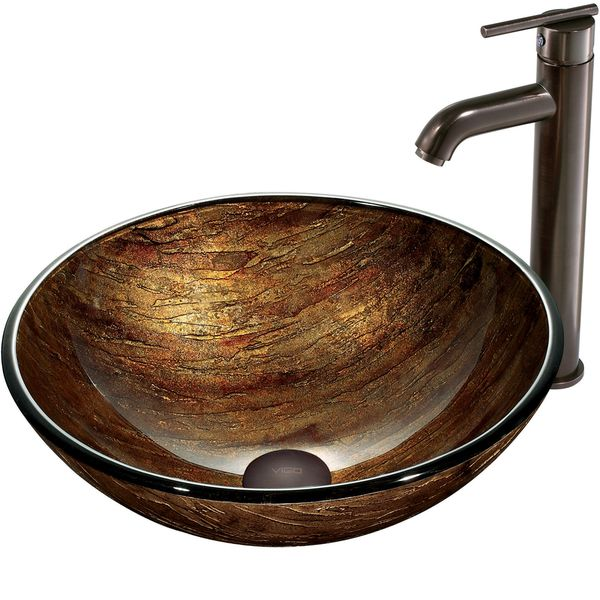 Vigo Amber Sunset Glass Vessel Sink And Faucet Set In Oil Rubbed - Bathroom sink and faucet set