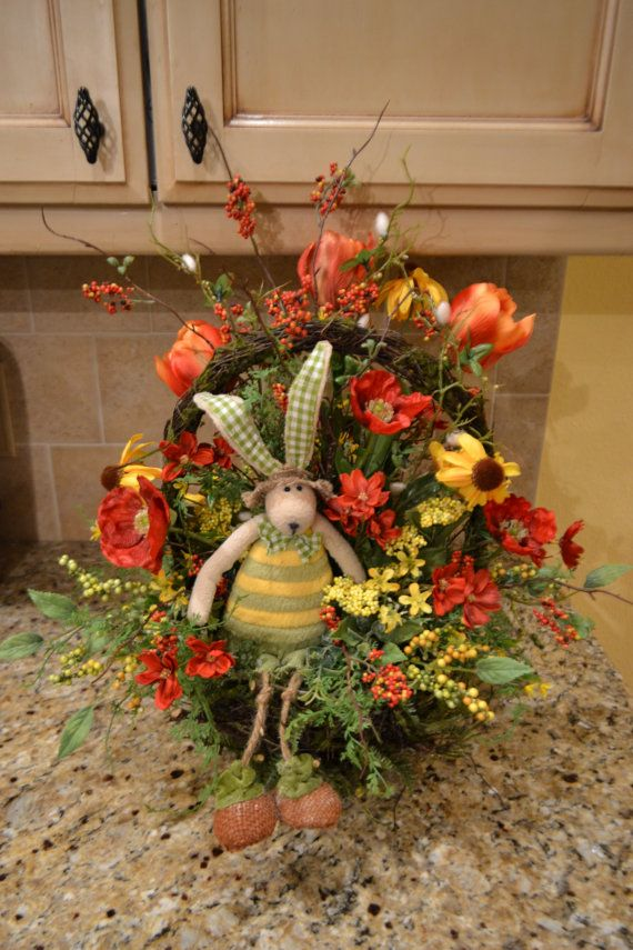 Green And Yellow Striped Bunny Arrangement by kristenscreations
