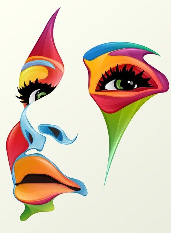 Couleur Multicolore Portrait Abstrait Dessin Abstrait Dessin De Visage