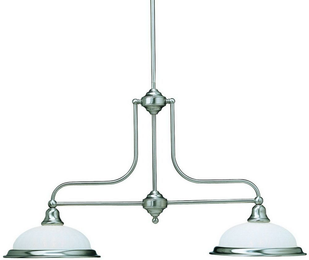 Dolan Designs 662-09 Richland 2 Light Island Lighting In Satin Nickel with Alabaster Glass 66209