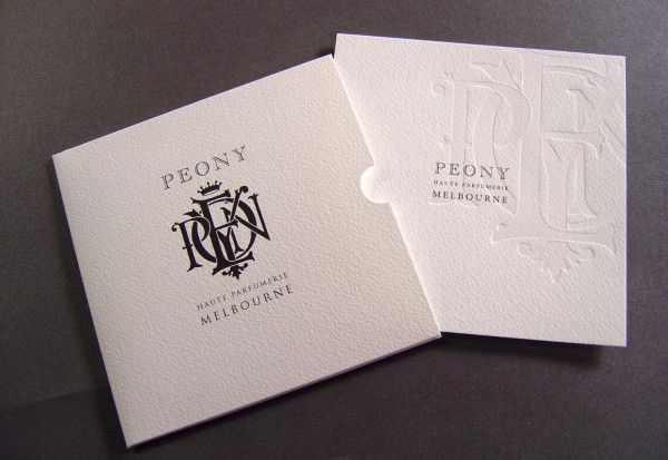 peony gift certificate set envelope offset printed and forme cut