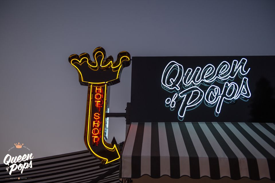Custom neon sign by Neon Signs Australia. Queen of Pops concept store -  Shop 4, 680 Sandgate Road, Clayfield QLD 4011 AUSTRALIA. Photo by Essence Images.
