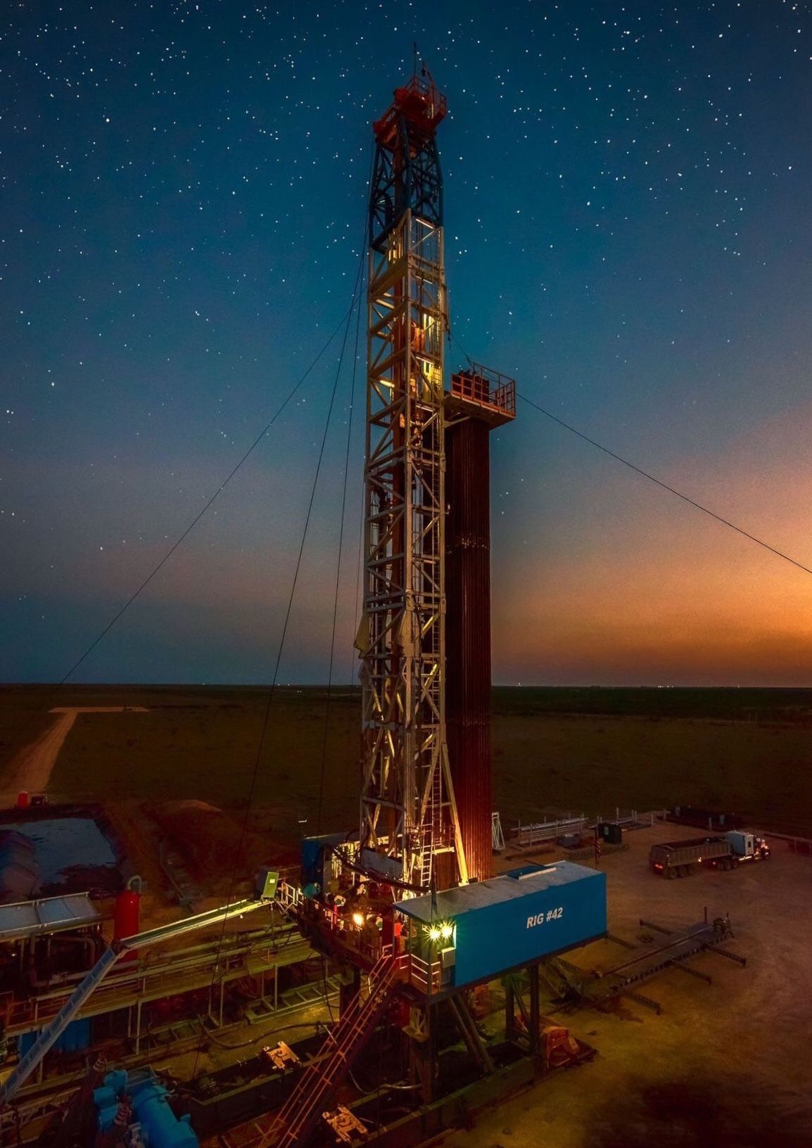 """THE STARS AT NIGHT"" OIL & GAS FINE ART OILFIELD LIFE"