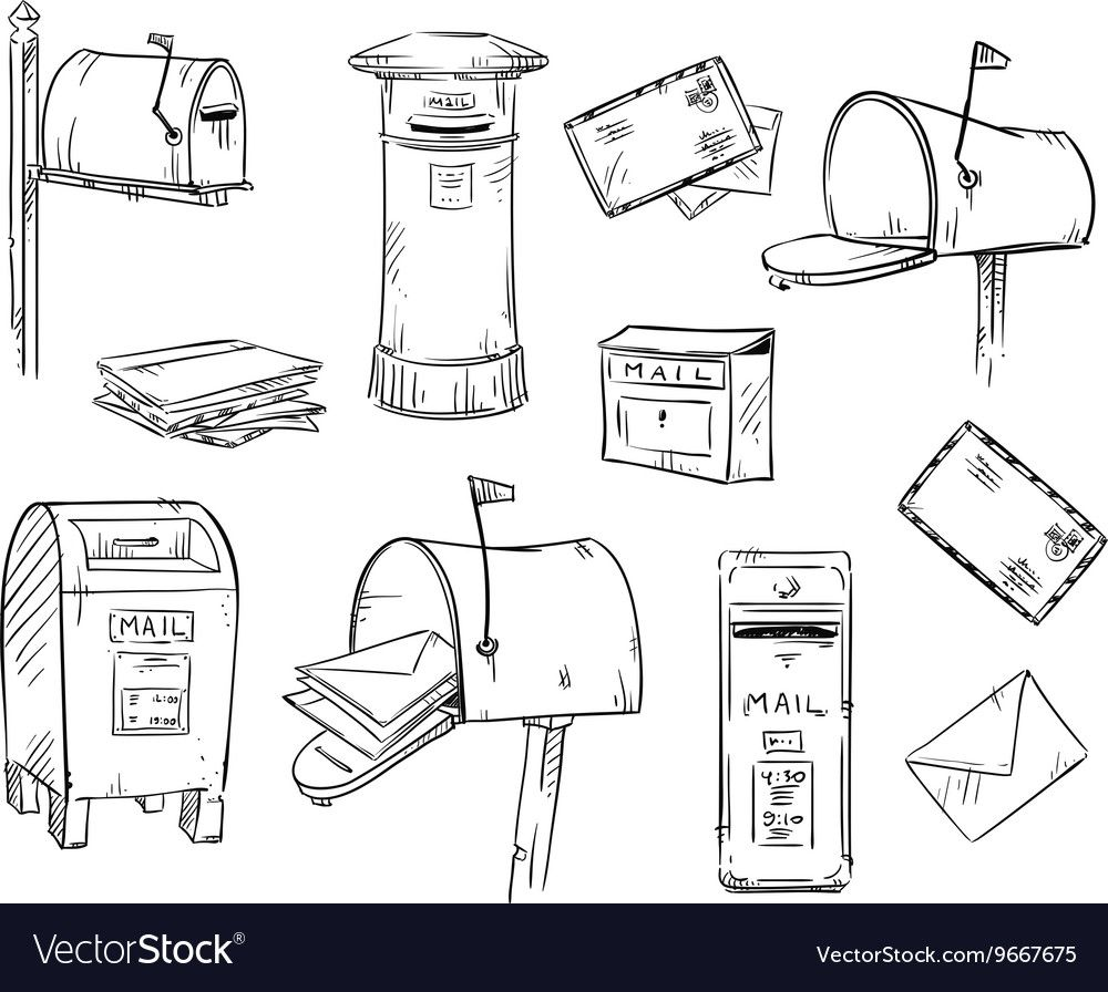 Mailboxes And Letters Vector Image On Vectorstock Key Drawings Vector Free Mailbox