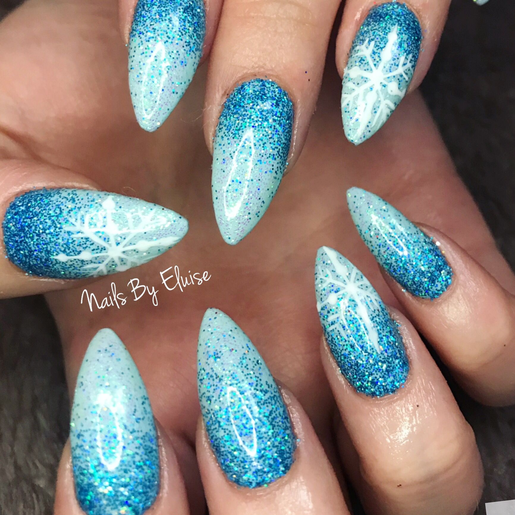 Frozen Acrylic Nails Mobile Nails Acrylic Nails Nail Artist