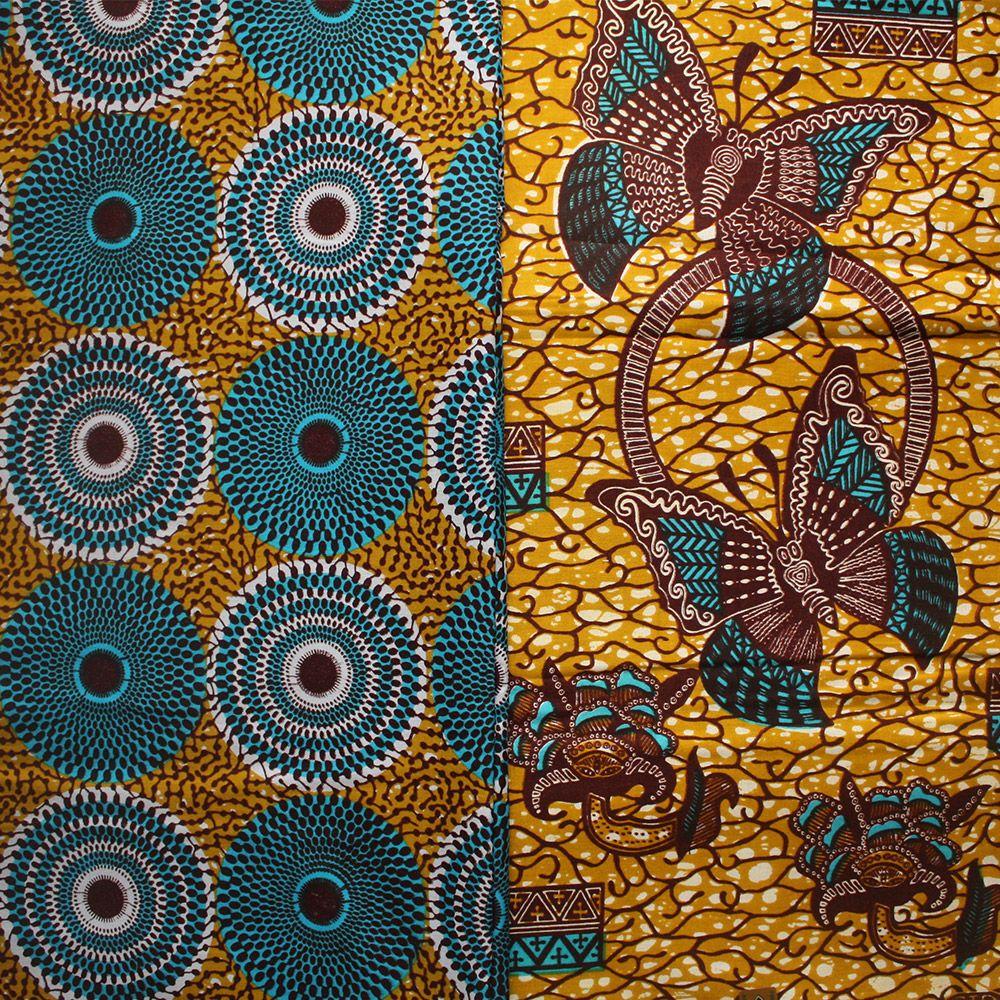 6 yards Fiery Ankara Fabric Batik African Prints Sewing Crafts Dress