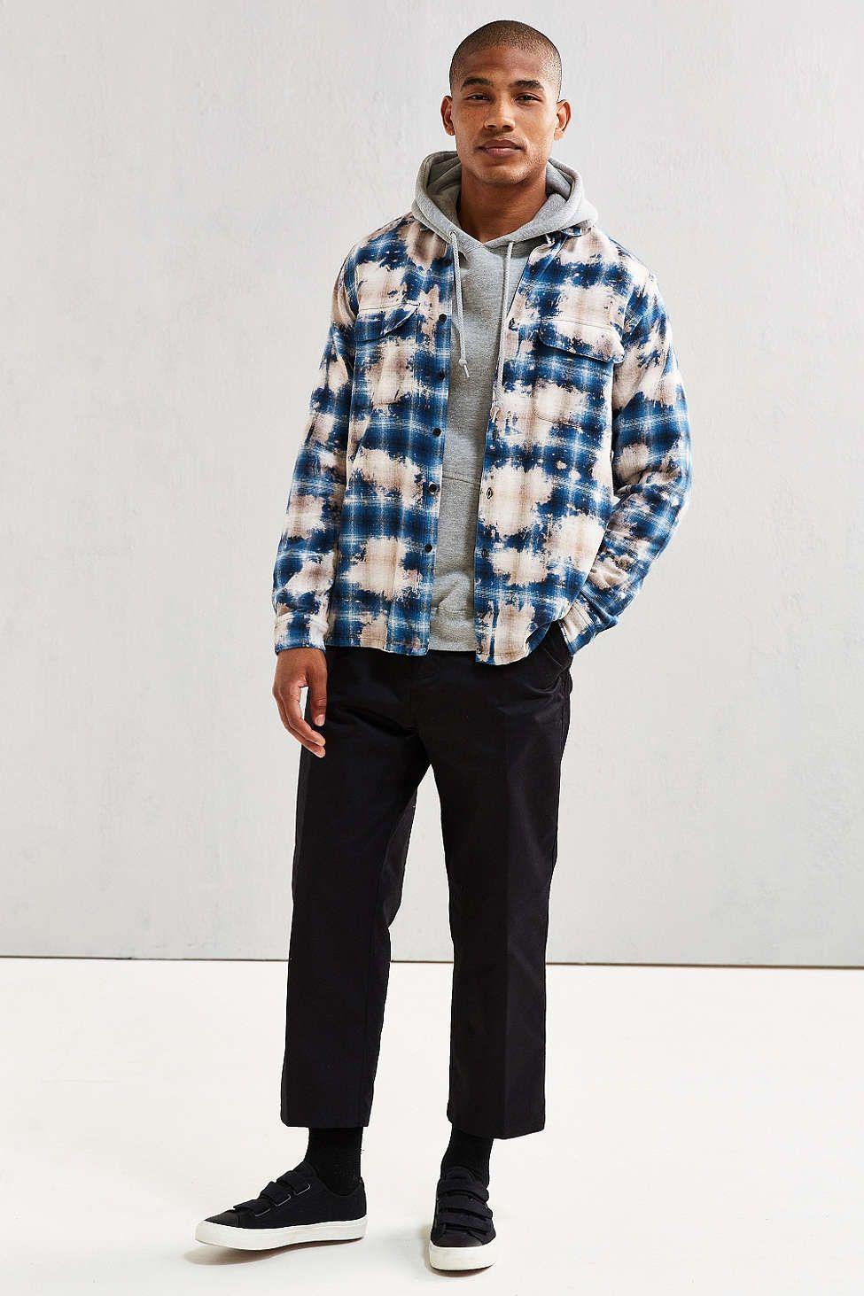 6e254a751e8 UO Ellis Bleached Shadow Plaid Flannel Button-Down Shirt - Urban Outfitters