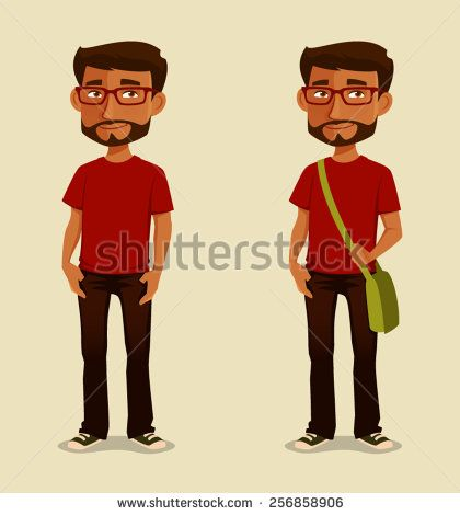 young Indian guy in casual clothes - stock vector